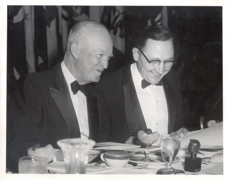 Lincoln Sesquicentennial Banquet: President Eisenhower and Fred Schwengel Feb. 11, 1959 Photograph by Abbie Rowe Courtesy National Park Service