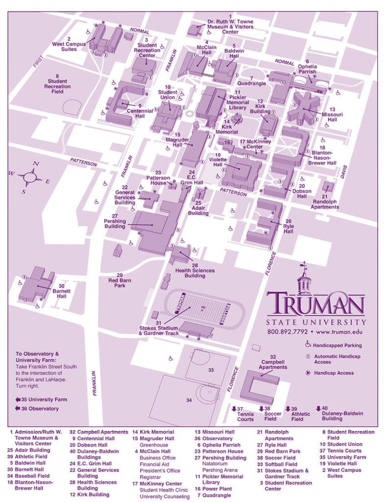 Map of Truman State University